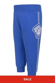 Versace Baby Boys Blue Cotton Logo Joggers