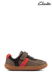 Clarks Grey Leather Flash Step T Shoes