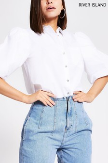 River Island White Puff Sleeve Shirt