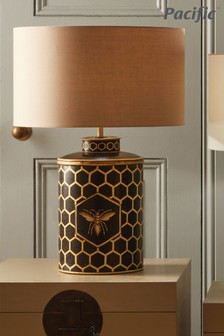 Pacific Honeycomb Bee Hand Painted Metal Table Lamp