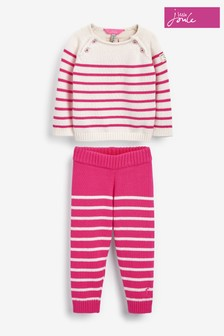Joules Pink Georgia Appliqué Top And Leggings Set