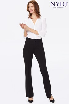 NYDJ Black Ponte Knit Jersey Straight Leg Trousers