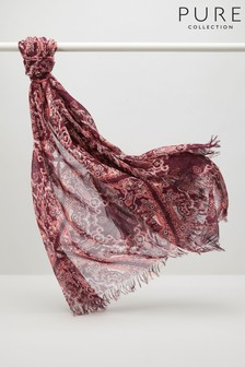 Pure Collection Red Ultra Soft Printed Scarf