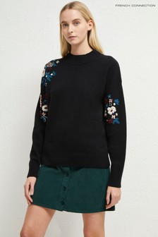 French Connection Black Tilda Embroidery Jumper