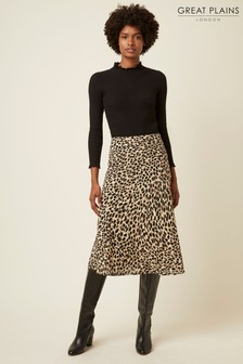 Great Plains Leopard Cara Fitted Midi Skirt