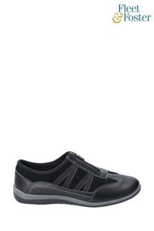 Fleet & Foster Black Mombassa Leather Slip-On Shoes