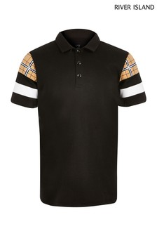River Island Black Sleeve Blocked Polo