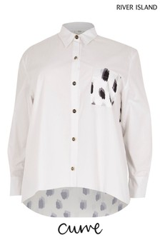 River Island Plus White Ricky With Contrast Print Shirt