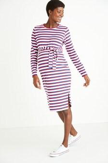 Maternity Belted Stripe Jersey Dress