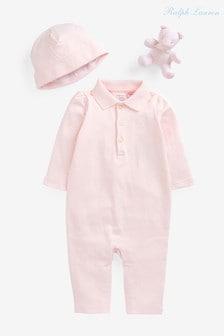 Ralph Lauren Pink Babygrow And Teddy Set
