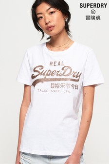 Superdry Vintage Logo Glitter Embossed T-Shirt