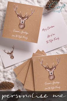 20 Pack Personalised Stag Christmas Cards by Croft Designs
