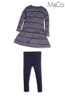 M&Co Stripe Dress And Leggings