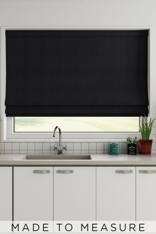Made To Measure Black Bouclé Roman Blind
