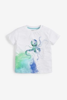 Organic Cotton Octopus Printed T-Shirt (3mths-7yrs)
