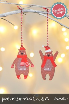 Personalised Bear Hanging Decoration by Oakdene Designs