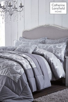 Catherine Lansfield Silver Damask Jacquard Duvet Cover and Pillowcase Set