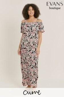 Evans Curve Floral Print Overlay Dress