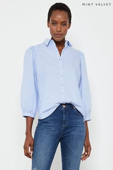 Mint Velvet Chambray Puff Sleeve Shirt