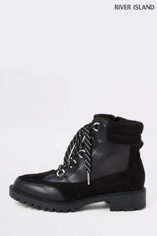 Черныетуристические ботинки на шнуровкеRiver IslandSkyla