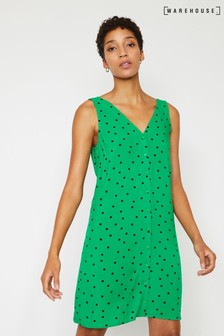 Warehouse Green Polka Dot Tie Back Mini Dress