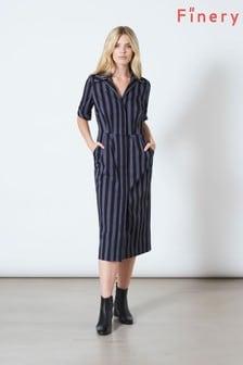 Finery London Blue Peyton Collared Short Sleeve Dress