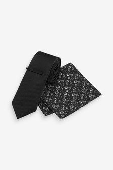 Textured Tie with Floral Pocket Square Set