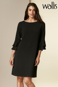 Wallis Black Double Flute Sleeve Dress