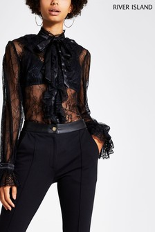 River Island Black Emmie Frill Lace Blouse