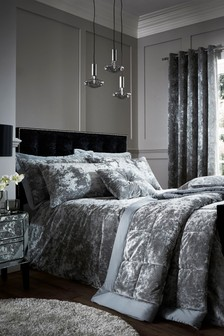 Crushed Velvet Duvet Cover and Pillowcase Set by Catherine Lansfield