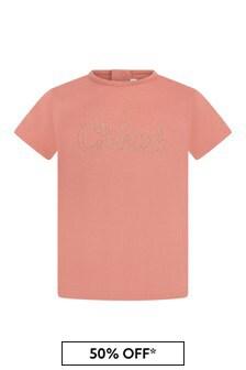 Chloe Girls Orange Cotton T-Shirt
