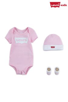 Levi's® Kids Classic Batwing Infant Hat, Bodysuit, And Booties Set