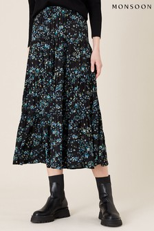 Monsoon Black Floral Tiered Midi Skirt In Lenzing™ Ecovero™