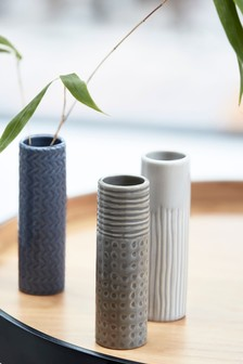 Set of 3 Mini Cylinder Ceramic Vases