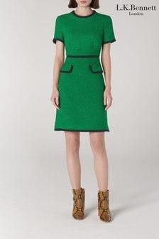 L.K.Bennett Green Anita Tweed Dress