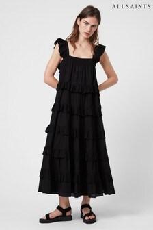 AllSaints Black Serina Long Tier Dress