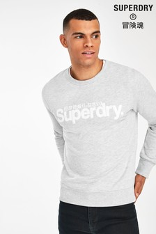 Superdry Grey Logo Crew Jumper