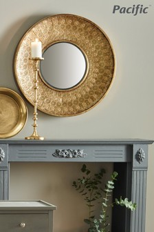Gold Metal Round Wall Mirror by Pacific Lifestyle