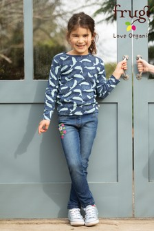 Frugi Organic Soft Denim Jeggings with Floral Embroidery
