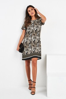 Border Print Shift Dress