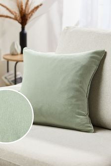 Sage Green Soft Velour Small Square Cushion