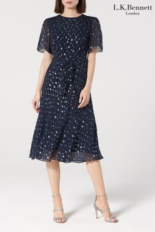 L.K.Bennett Blue Eve Chiffon Silk Dress