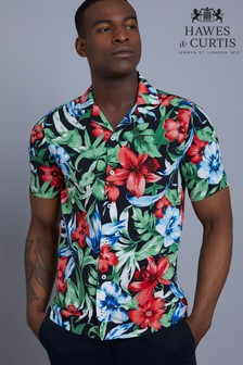 Hawes & Curtis Black Tropical Flower Print Relaxed Fit Shirt