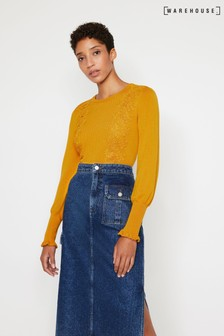 Warehouse Yellow Lace Appliqué Jumper