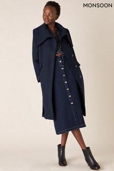 Monsoon Blue Keryn Wrap Collar Belted Coat