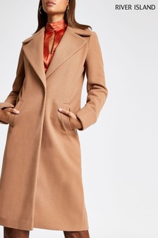 River Island Camel Single Breasted Wool Coat