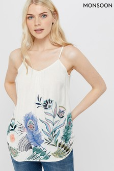 Monsoon Cream Hallie Feather Embroidered Cami