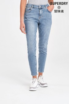 Superdry Skinny-Jeans mit mittelhohem Bund, Mittelblau