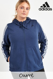 adidas Curve Blue 3 Stripe Zip Through Hoody