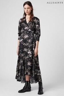 AllSaints Black Floral Print Silk Mix Tage Midi Dress